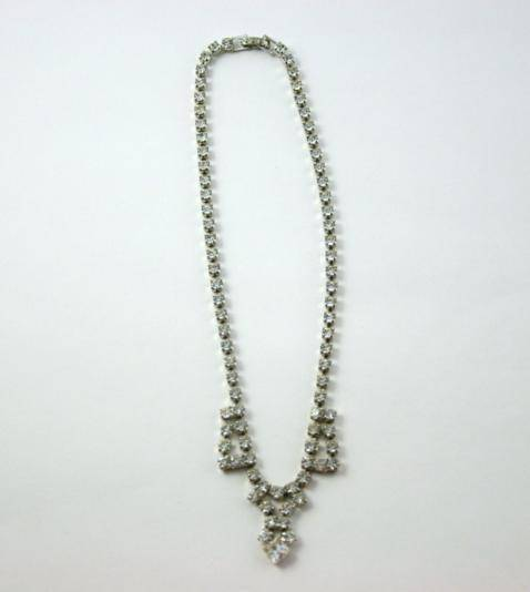 Vintage 1950's Silver Tone Clear Crystal Choker Necklace  -Excellent - J139GS