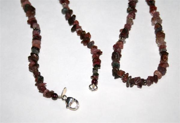 "Sterling 925 Mixed Multi-colored Tourmaline Free-Form Beaded 36"" Necklace D57DB"