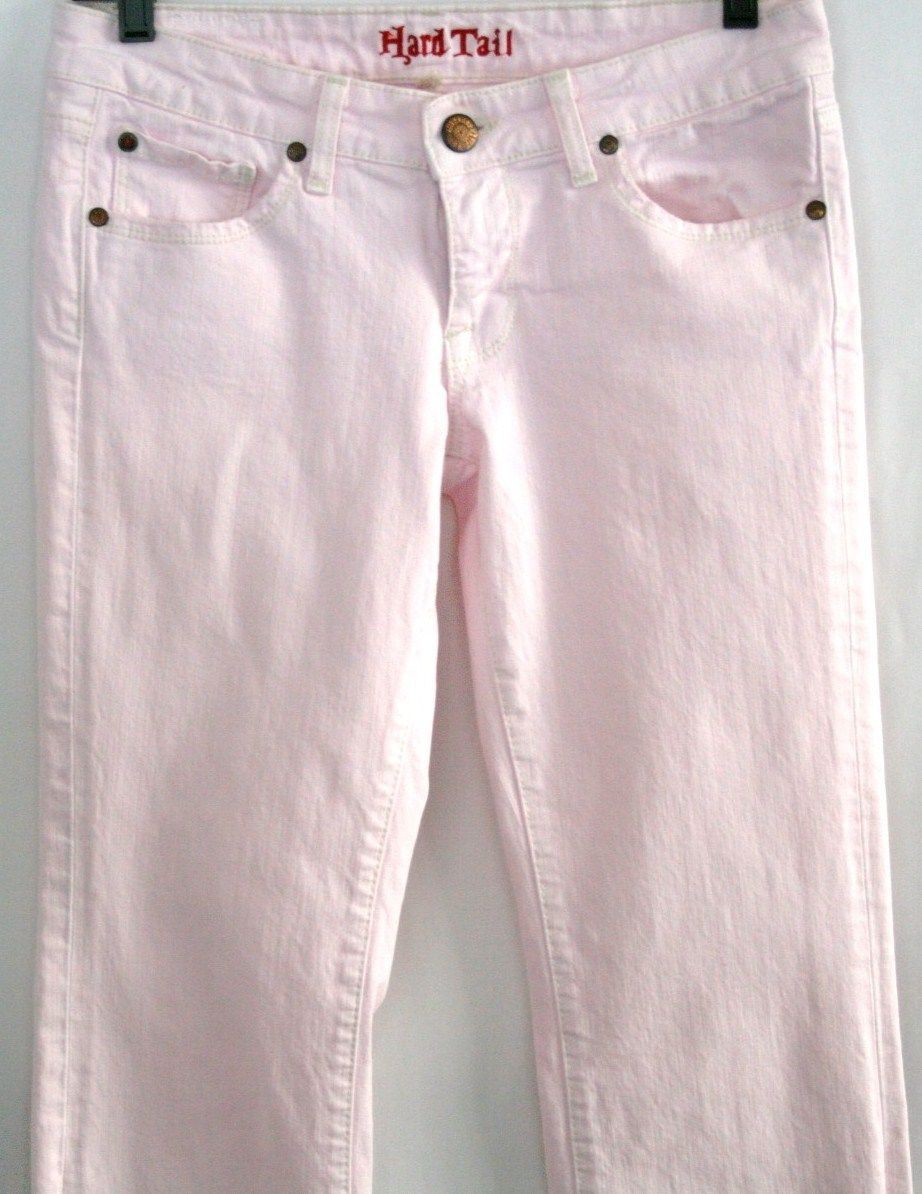 HARD TAIL FOREVER Holly Super Low Rise Pink Stretch 5 Pocket Jeans Size 27