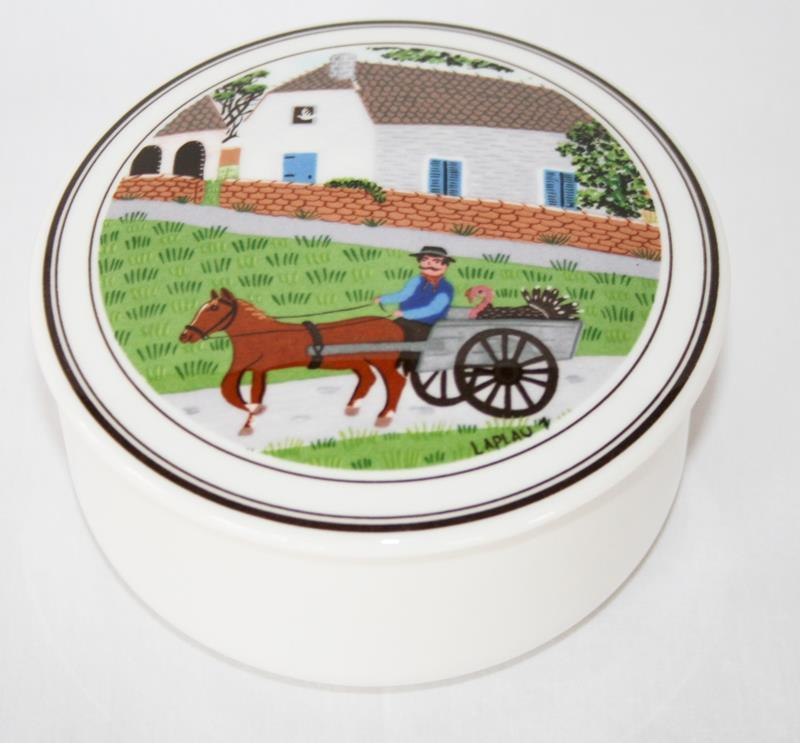 Villeroy & Boch Luxembourg LaPlau Folkart Round Covered Candy Trinket Box  #2054