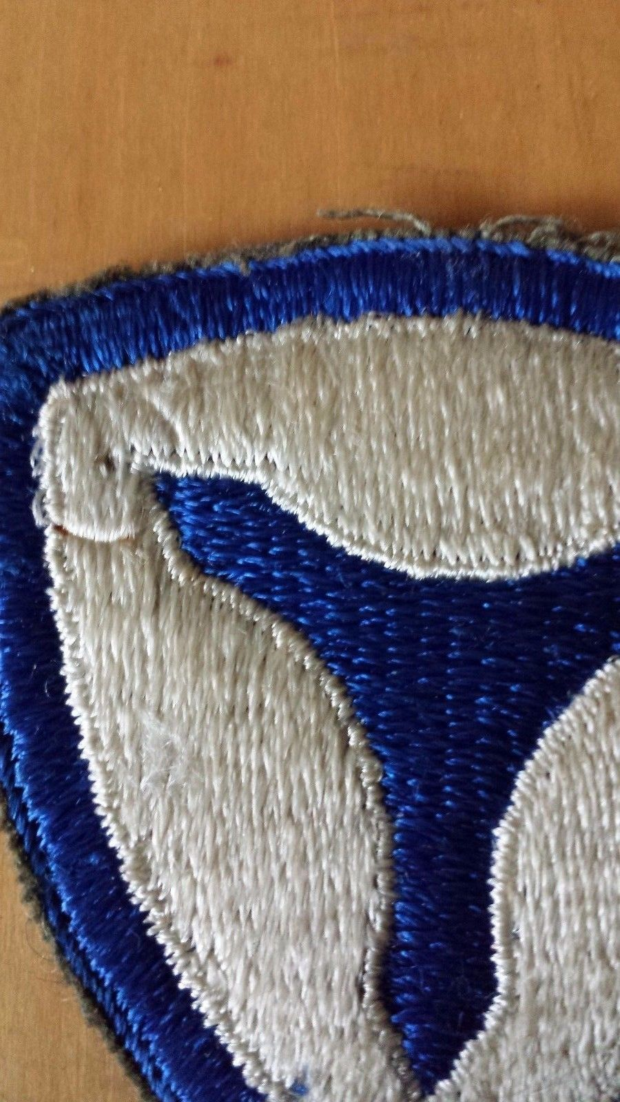 VTG Blue White Military Patch Triangle Emblem
