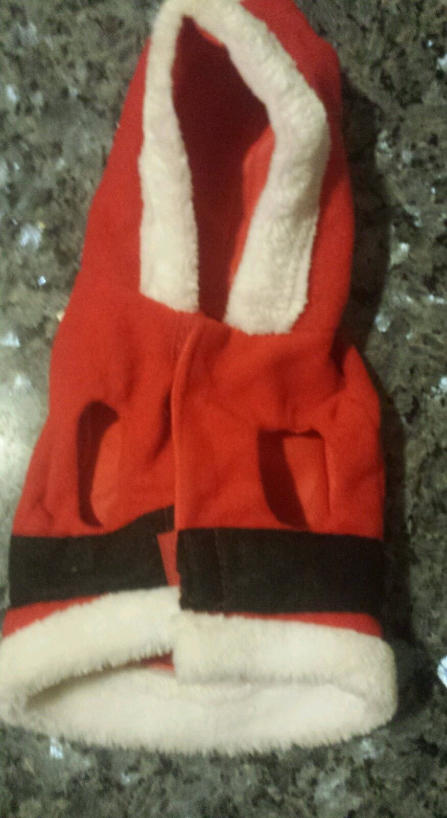 """NEW RED SANTA ONE PIECE HOODED DOG PET COSTUME XS 6""""-9"""""""