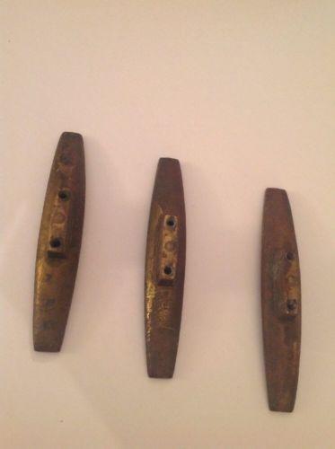"3 Vintage Mid Century Drawer Pulls Furniture Hardware Metal Brutalist 4.5"""