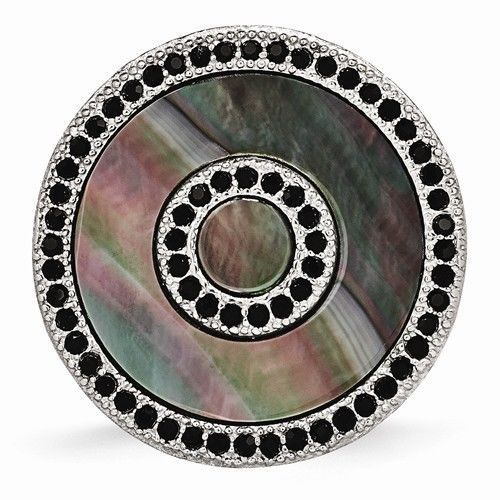 CHISEL BRAND STAINLESS STEEL BLACK MOTHER OF PEARL AND CRYSTAL RING  - SIZE 8