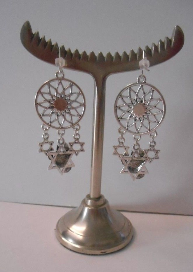 Hand Crafted by Me~One-of-a-Kind~Judaica/Jewish Theme~SP Hook Pierced Earrings