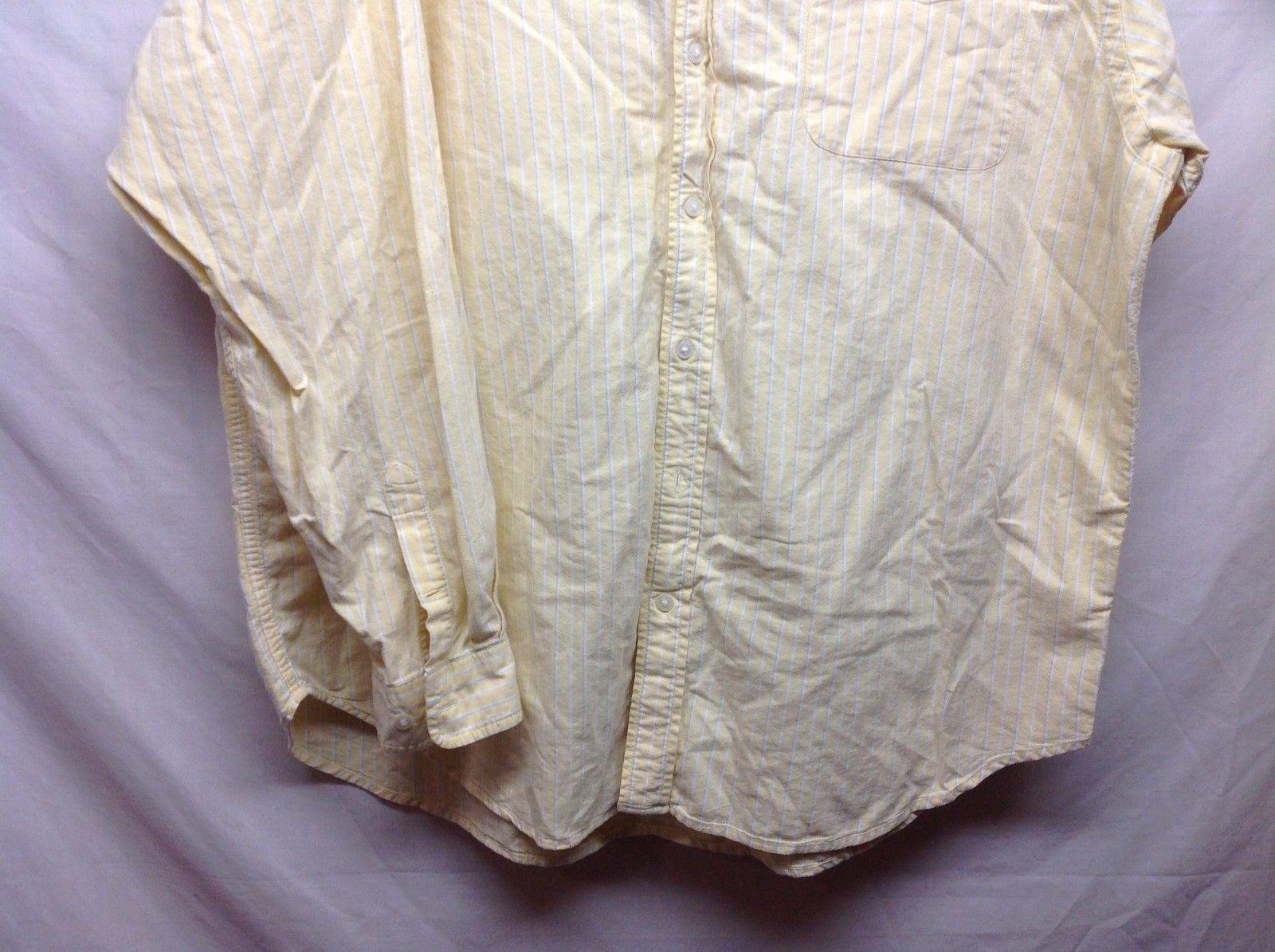 Natural Life Mens Yellow w White Stripes Casual Button Down Shirt Sz XXL