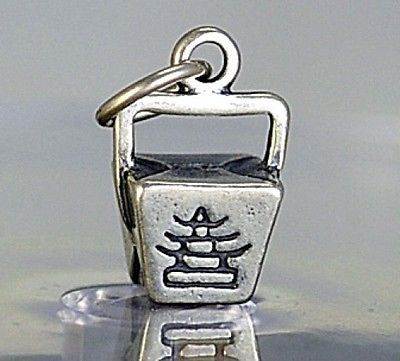 STERLING SILVER CHINESE FOOD TAKE-OUT BUFFET BOX CHARM