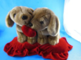 """Valentines Day Plush Puppy Pillow 15"""" x 8"""" 2 Puppies with Heart - $6.92"""
