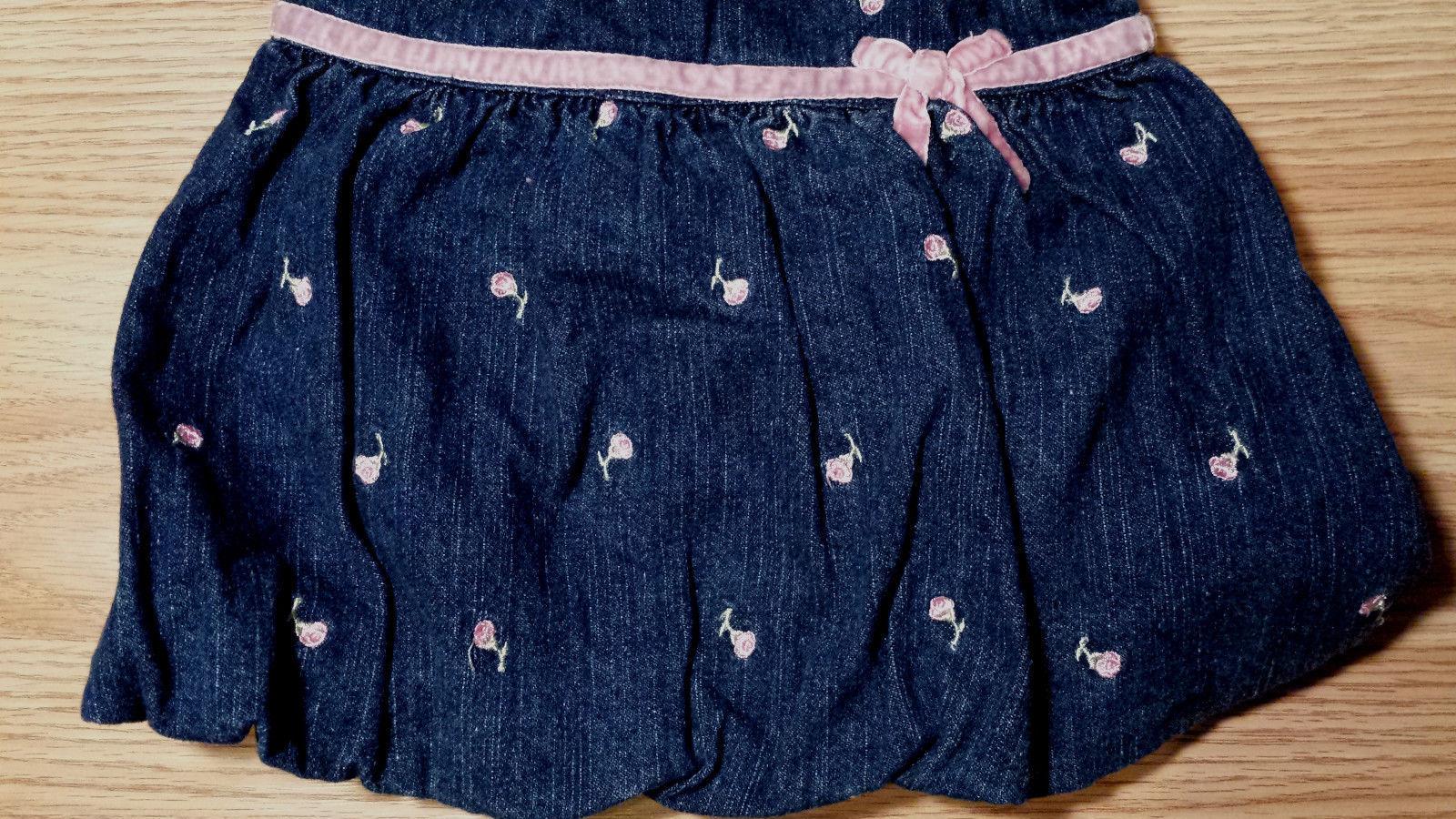 Girl's Size 3-6 M Months 2 Pc Dark Blue Denim Rose Embroidered FG Dress + Top