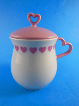 Unmarked Heart handled Sugar or Jelly Bowl with Lid pink hearts porcelai... - $5.93