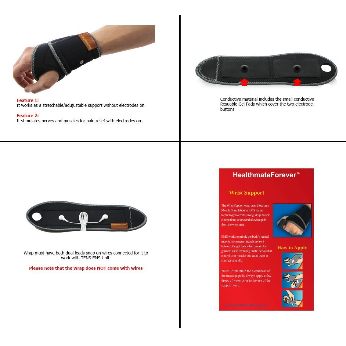 Conductive Wrist Brace Support Wrap Stretchable for TENS EMS Unit pain relief