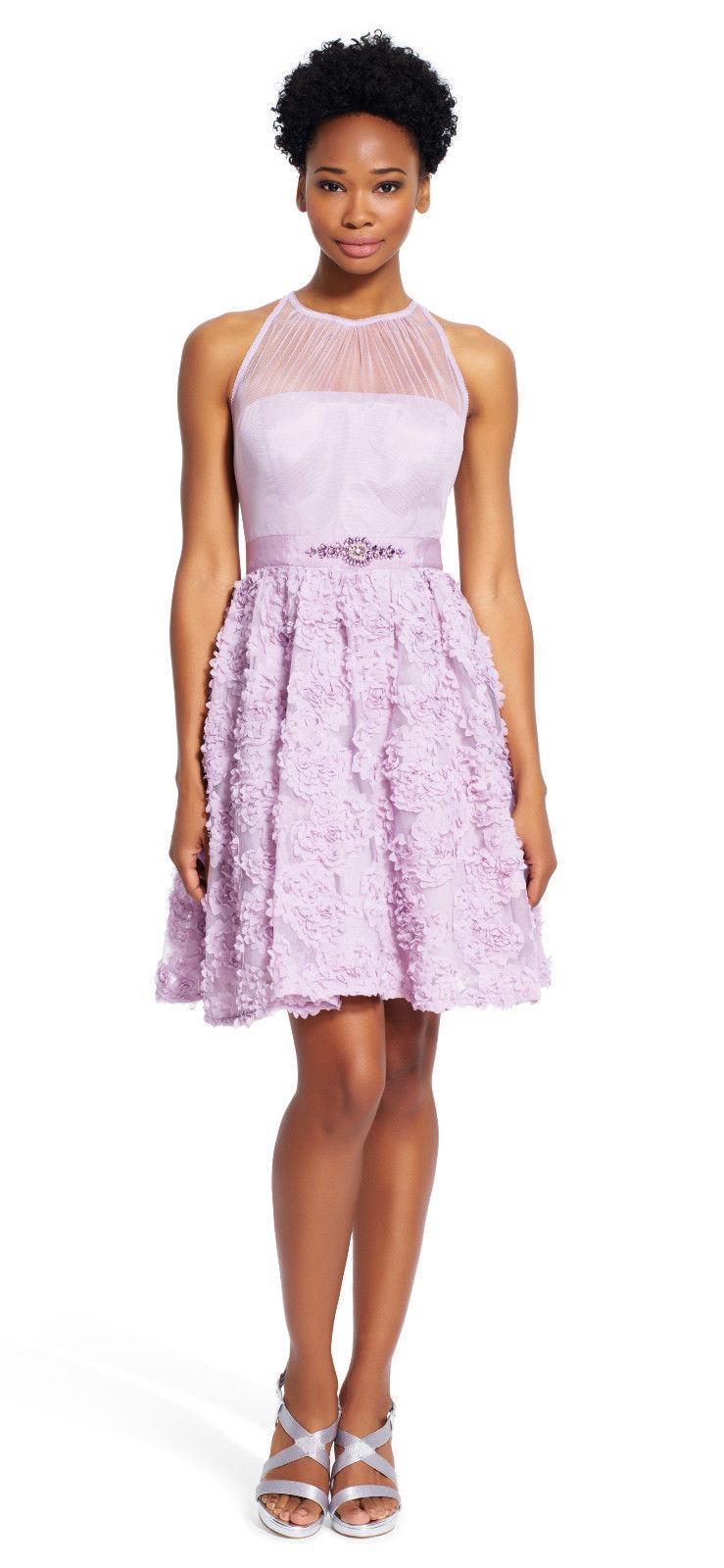 Adrianna Papell New Womens Light Heather Petal Chiffon Halter Dress  12