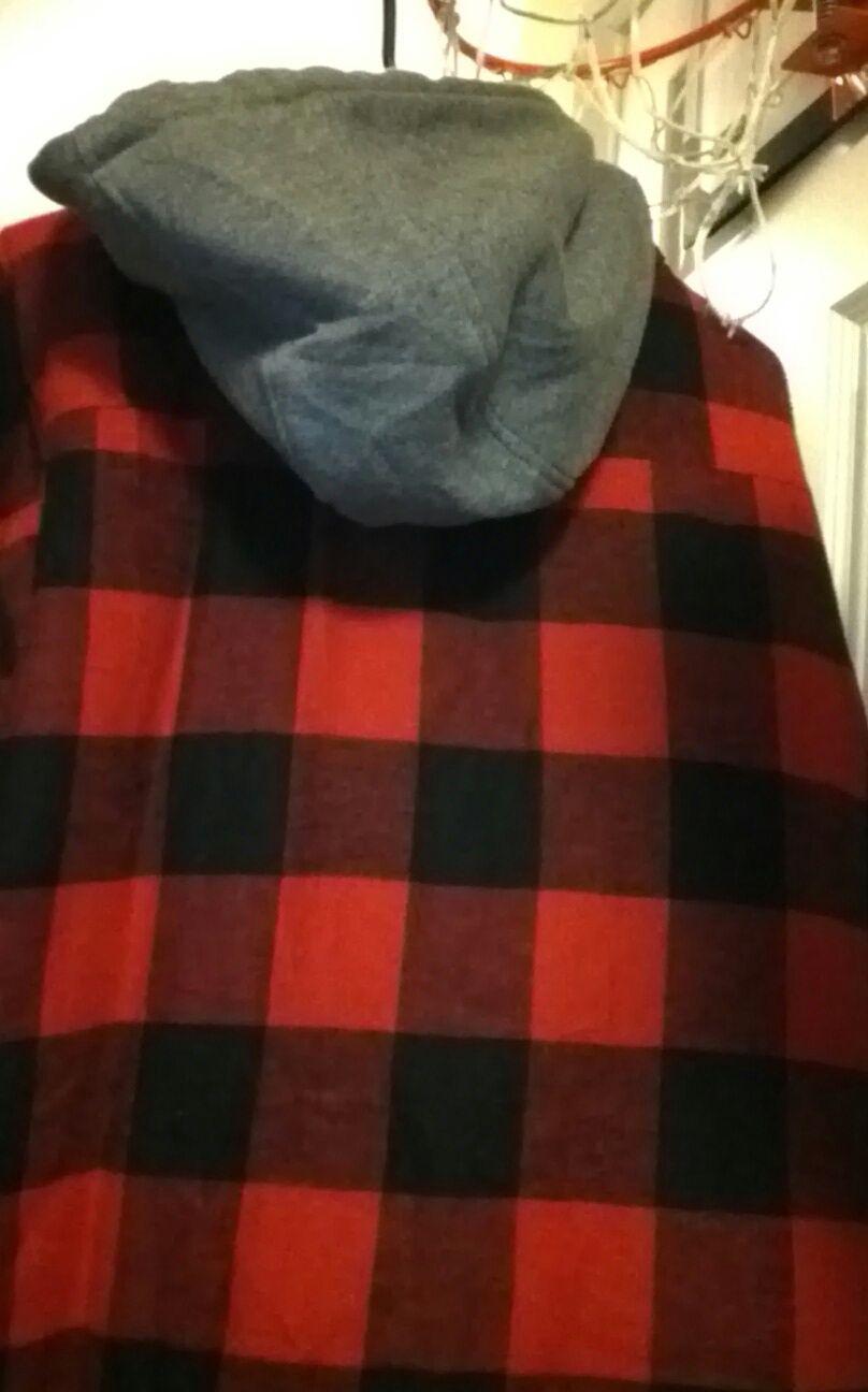 PLAID Jacket HOODIE FEEL Soft cotton exterior CRAFTSMAN RED 2XL BASIC COAT