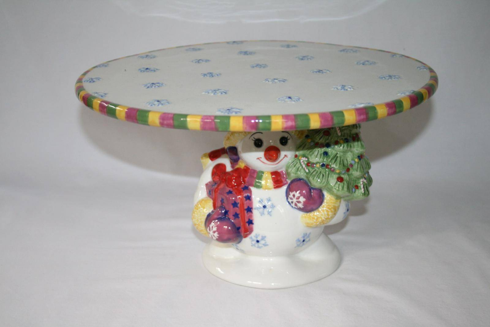 Christopher Radko Holiday Celebrations Snowman Footed Cake Plate  #1421