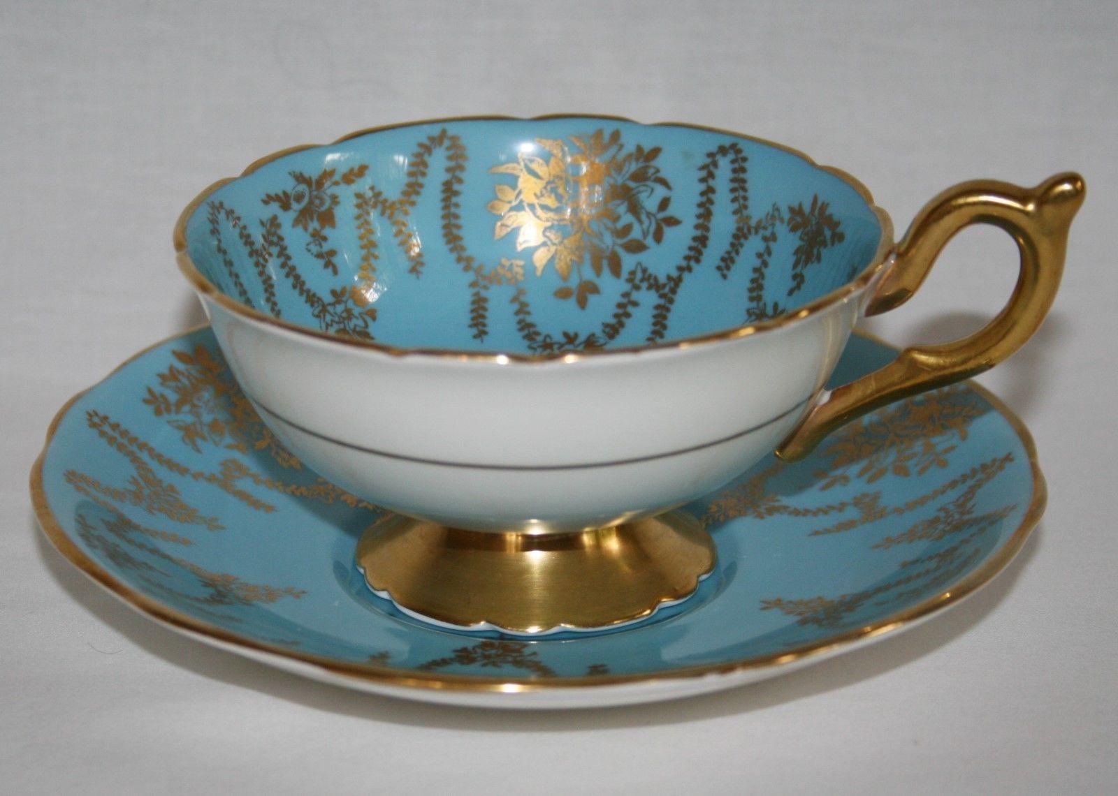 Coalport Blue Garland Tea Cup & Saucer Set Gold Trim