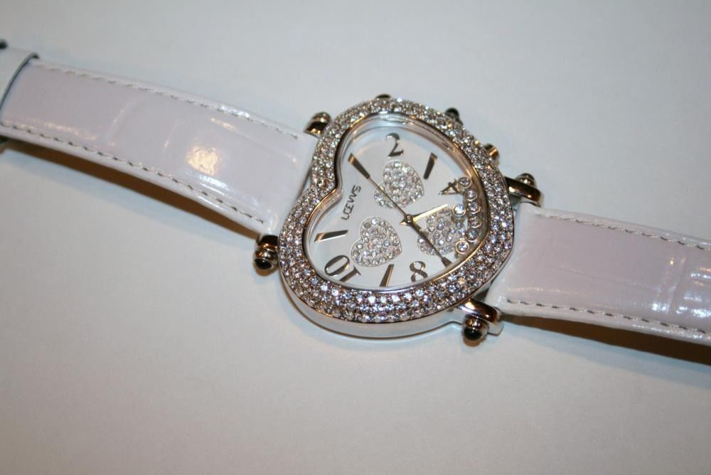 Sivertone Moving Crystal Heart Watch on White Leather Band   1194