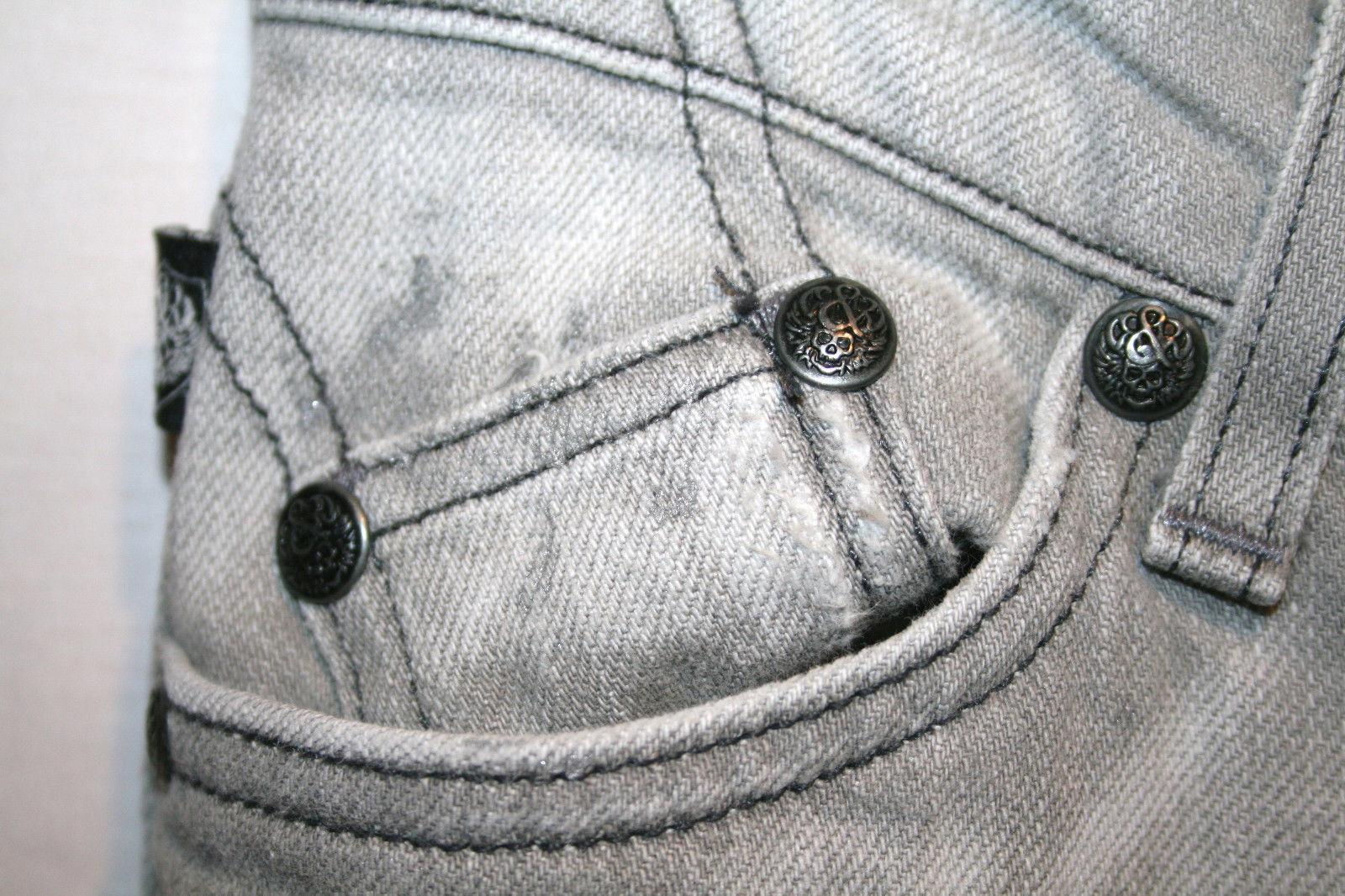 ROCK & REPUBLIC Kasandra Low Rise Boot Cut Grey Splatter Jeans Sz 25   #630