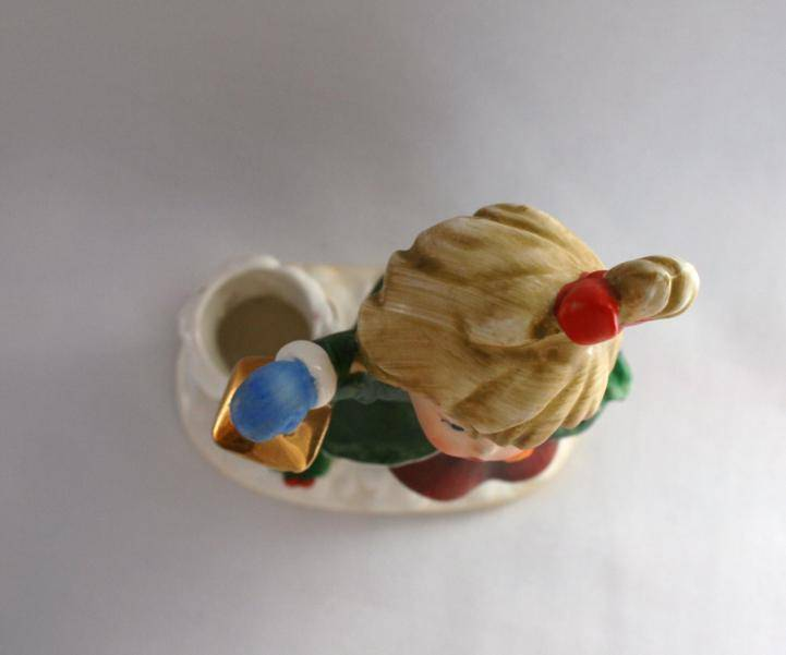 Vintage Napcoware Japan Numbered Girl with Lantern Taper Candle Holder   #982