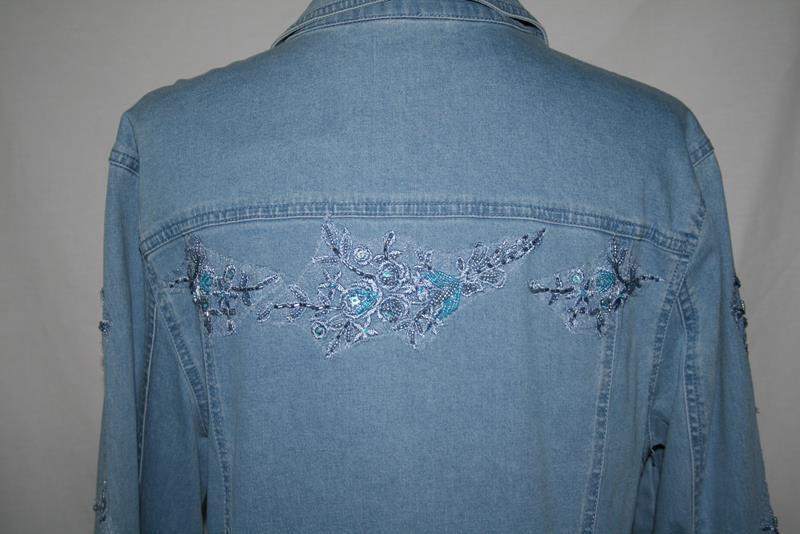 Variations Jeans Beaded Light Blue Denim Jean Jacket Medium -NWT-  #2026