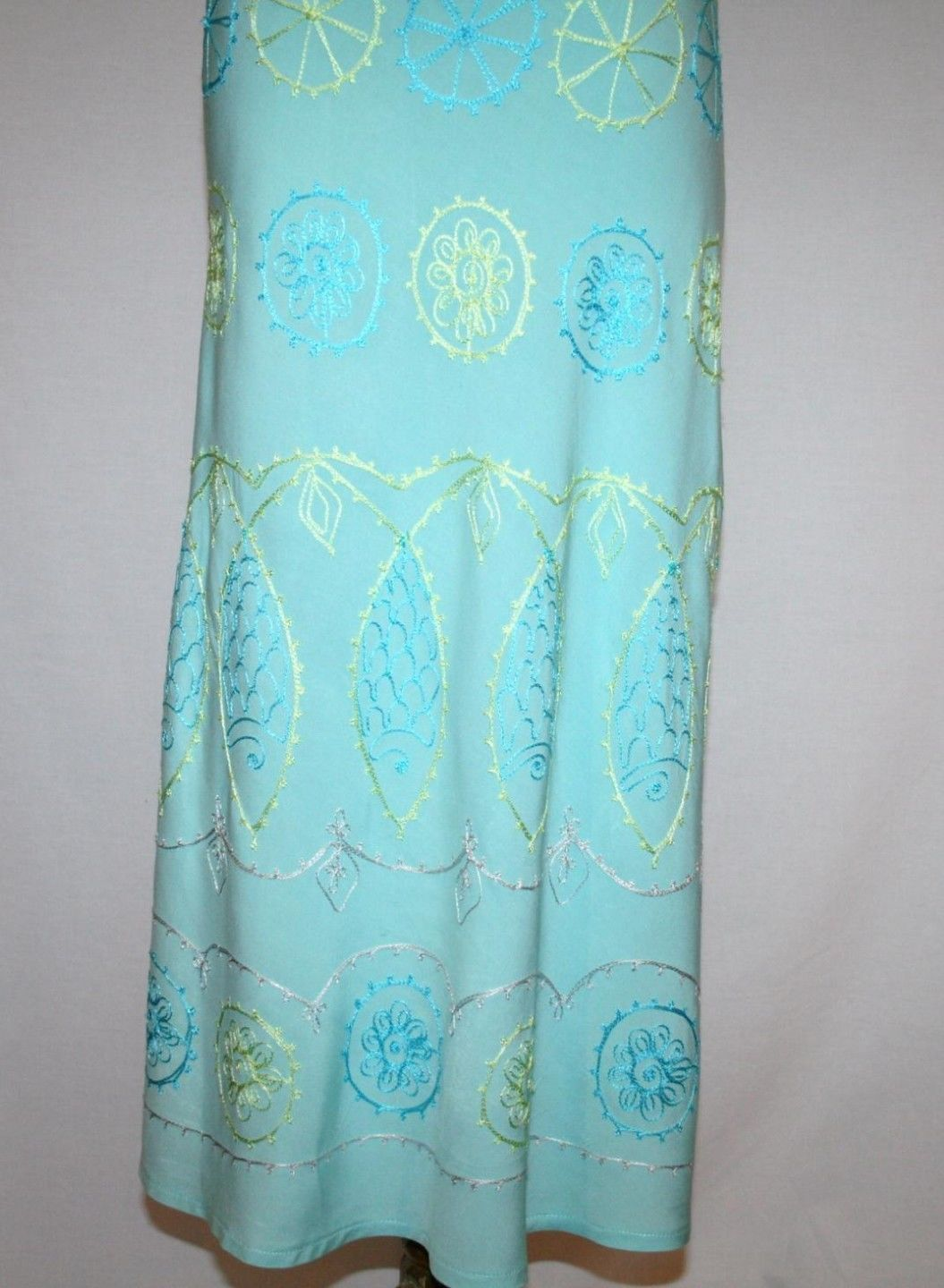 DEBBIE KATZ South Beach Rayon Turquoise Embroidered Halter Dress Small    1257