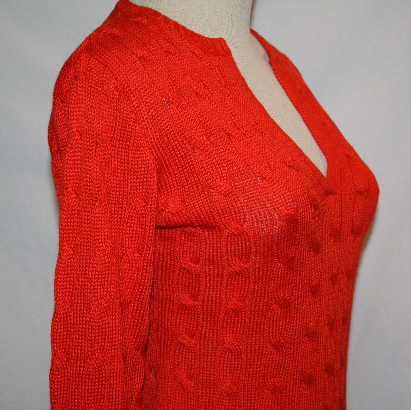 RALPH LAUREN BLACK LABEL Linen Silk Cable Knit Orange Sweater Small    1210