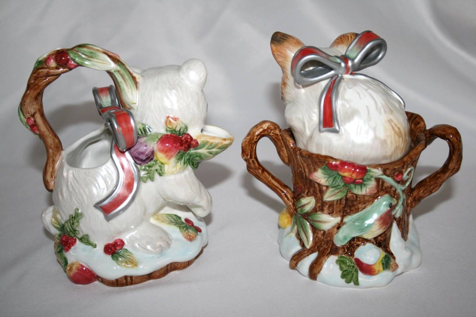 FITZ & FLOYD Enchanted Holiday Creamer and Covered Sugar   #1322