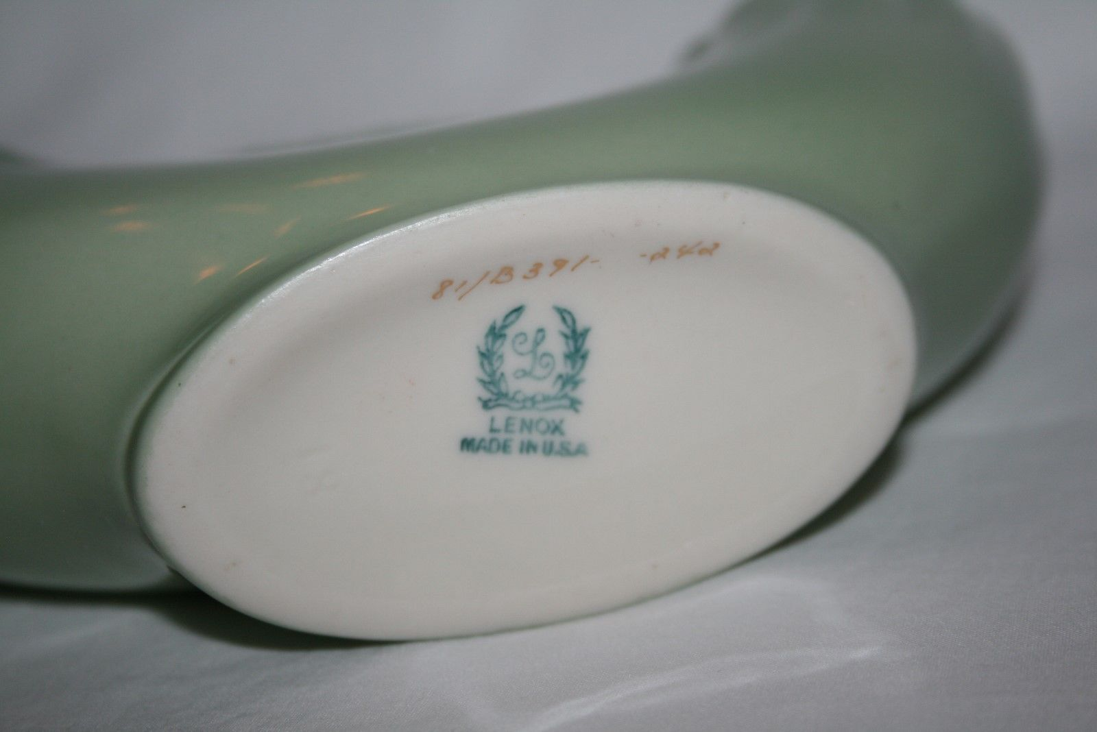 Lenox USA Green Mark Numbered Sage Green Double Wedding Vase -Mint Condition-