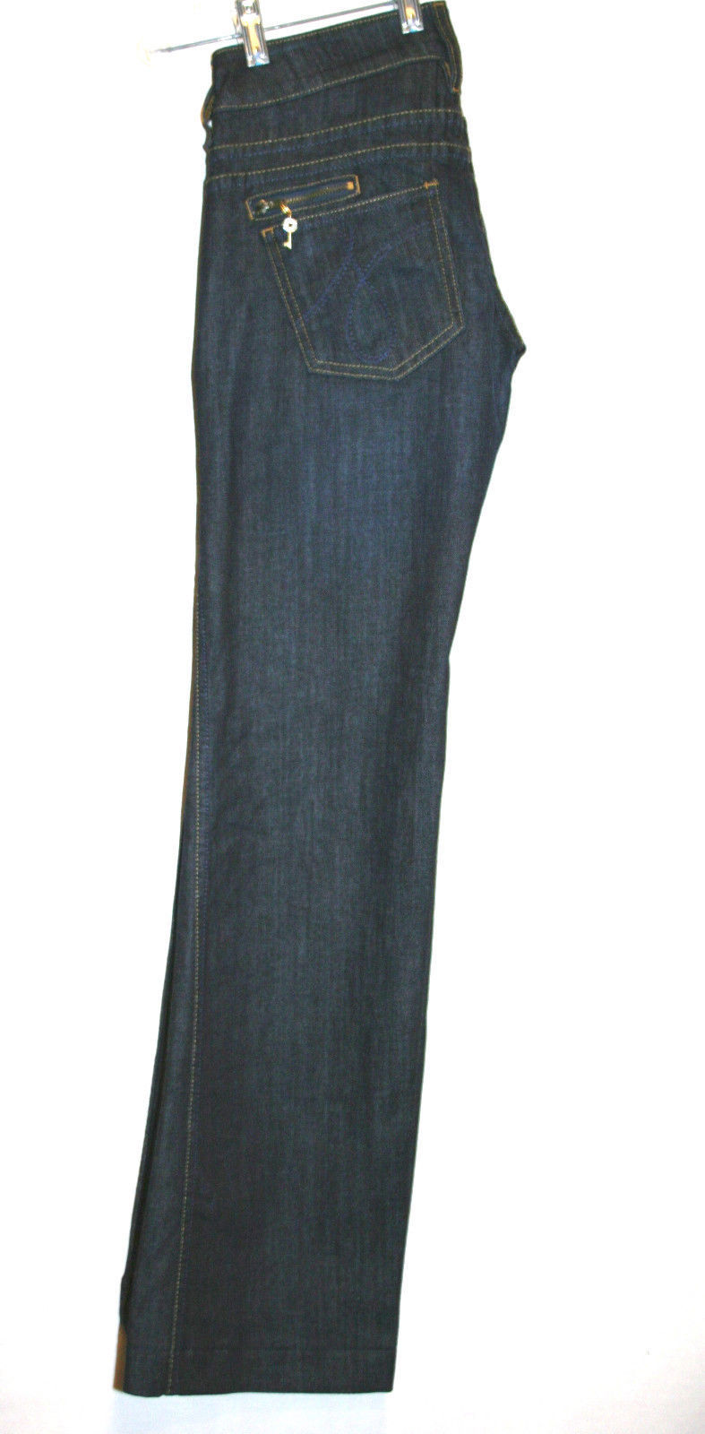 JUICY COUTURE Dark Wash Low Rise Boot Cut Jeans Wide Waistband Size 25   #624