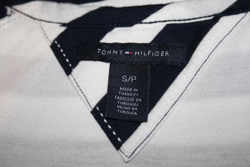 Tommy Hilfiger Navy White Striped Lined Ruched Dress Small/Petite  #1849