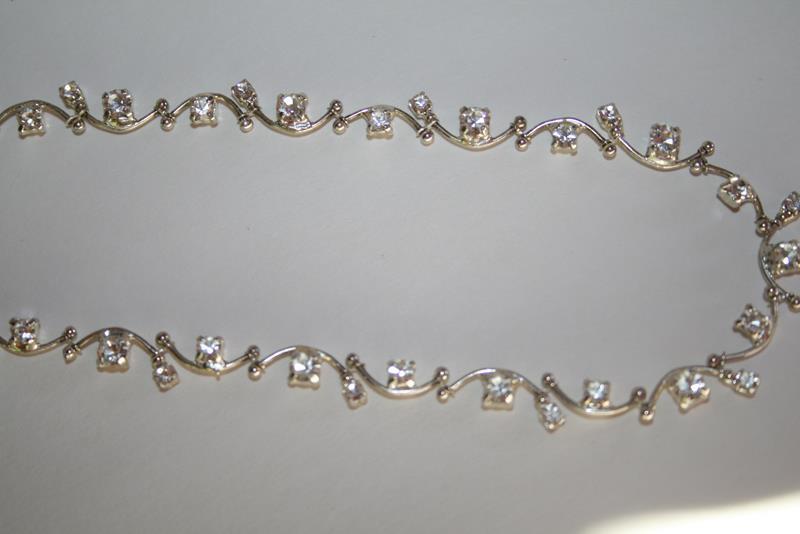 Signed Carolee Crystal Silvertone Vine Style Necklace  J210GS