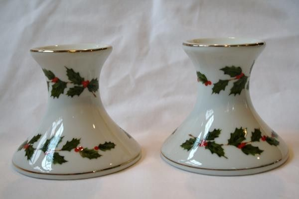LEFTON China 1985 Numbered Holly Candle Holders Set   #390