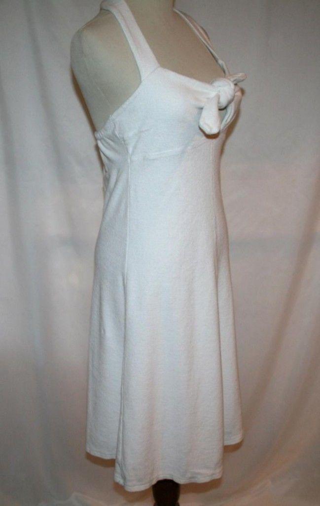 CALYPSO CHRISTIANE CELLE White Terry Tie Front Halter Dress X-Small   #854