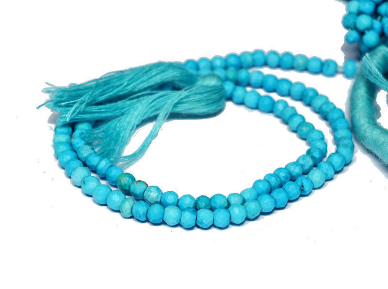 """Natural Indian Turquoise Gemstone 3-4mm Rondelle Faceted 13"""" Loose Beads Strand"""