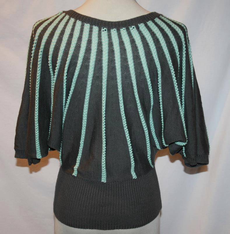 Cut25 Gray Seafoam Striped Batwing Sweater Top X-Small    #1847