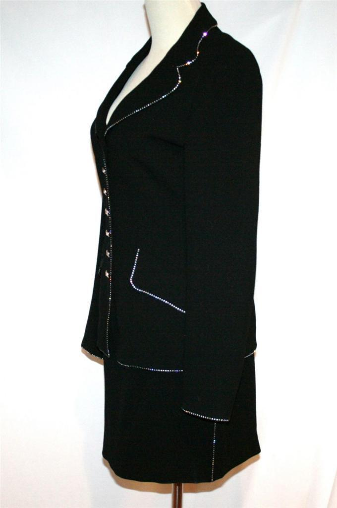 ESCADA Black Wool Crystal Trim 3 pc Evening Suit  Jacket Skirt Top 34  US 4