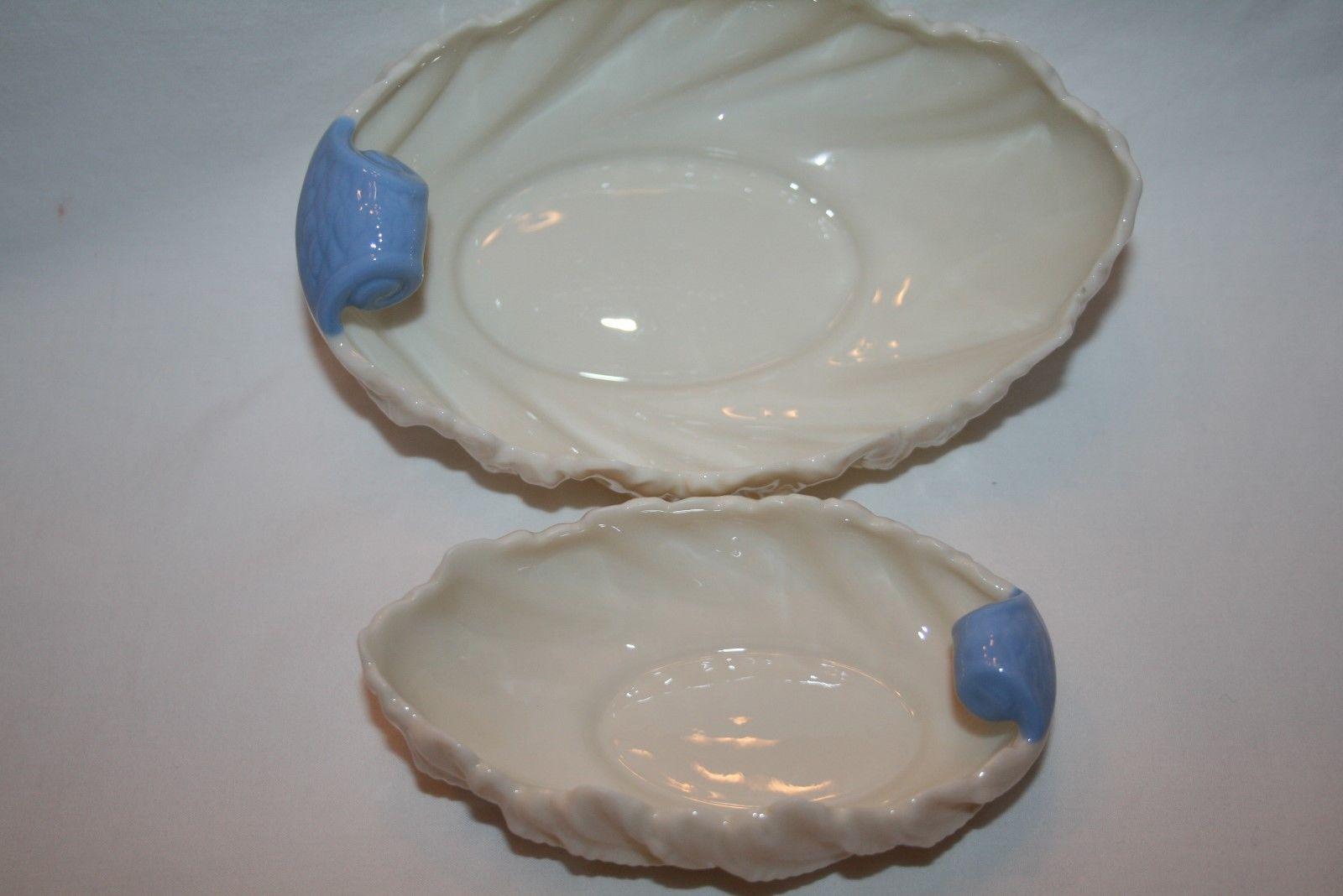 "Lenox USA Green Mark Set of 2 Ivory Blue 6"" & 4""  Acanthus Shell Bowls -Mint-"