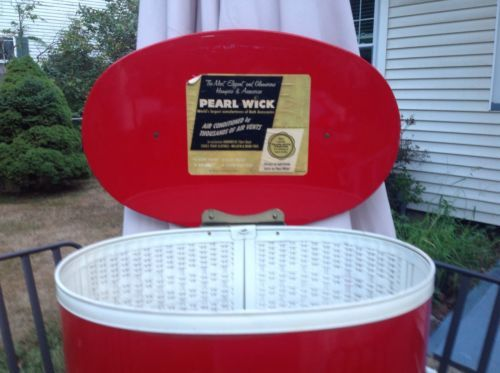 Red Pearl Wick Hamper Mid Century White Ivory Buttons Vintage 1950's 1960's