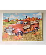 Red Truck Pumpkins Placemats Set of 4 Vinyl Fall Harvest Thanksgiving Fo... - $24.63