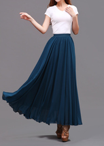 LONG CHIFFON SKIRT Teal Blue Chiffon Skirt High Waisted Wedding Chiffon Skirt image 7