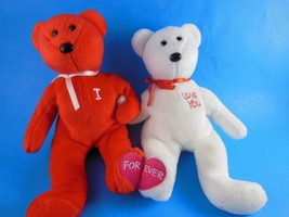 Pair of Valentines Day plush Beanie Babies  One says I other says Love You - $9.94