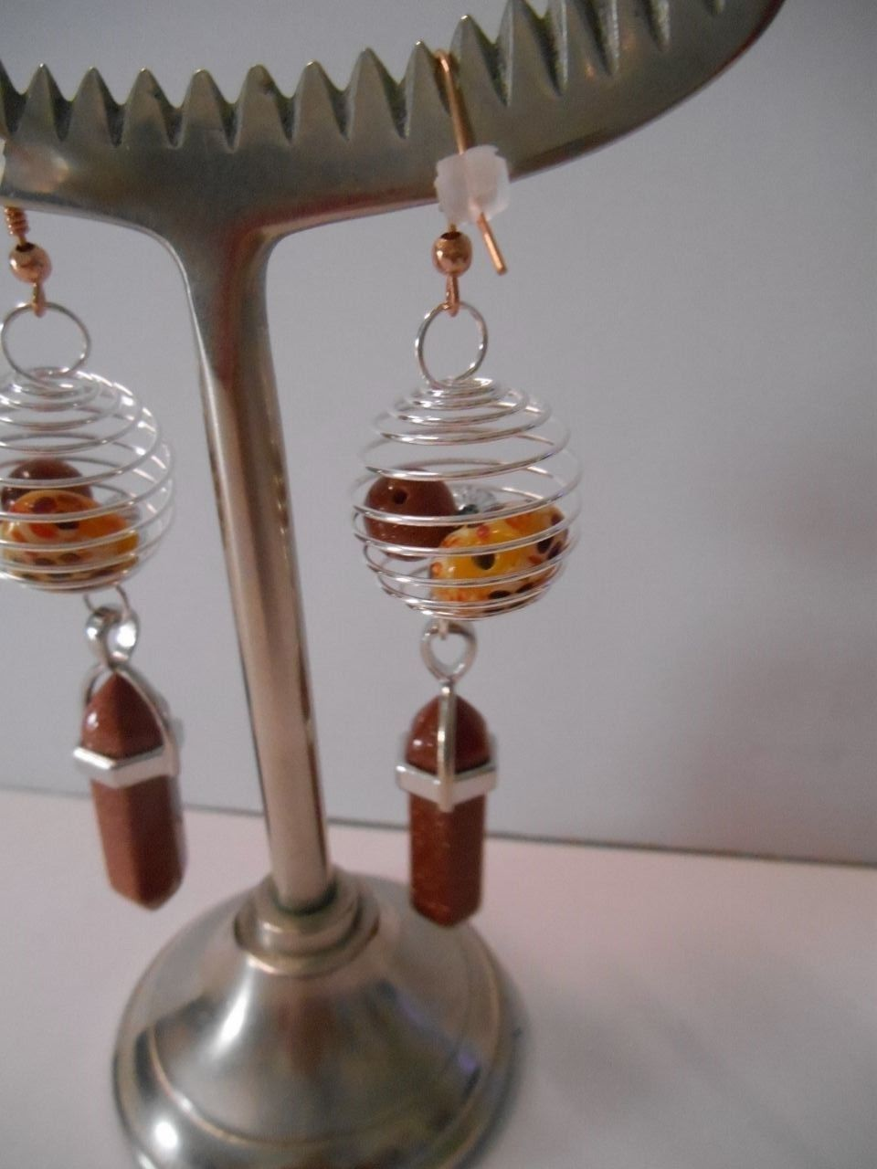 Created by Me~Silver Spirals w/Beads+Copper Color Crystals~Hook Pierced Earrings