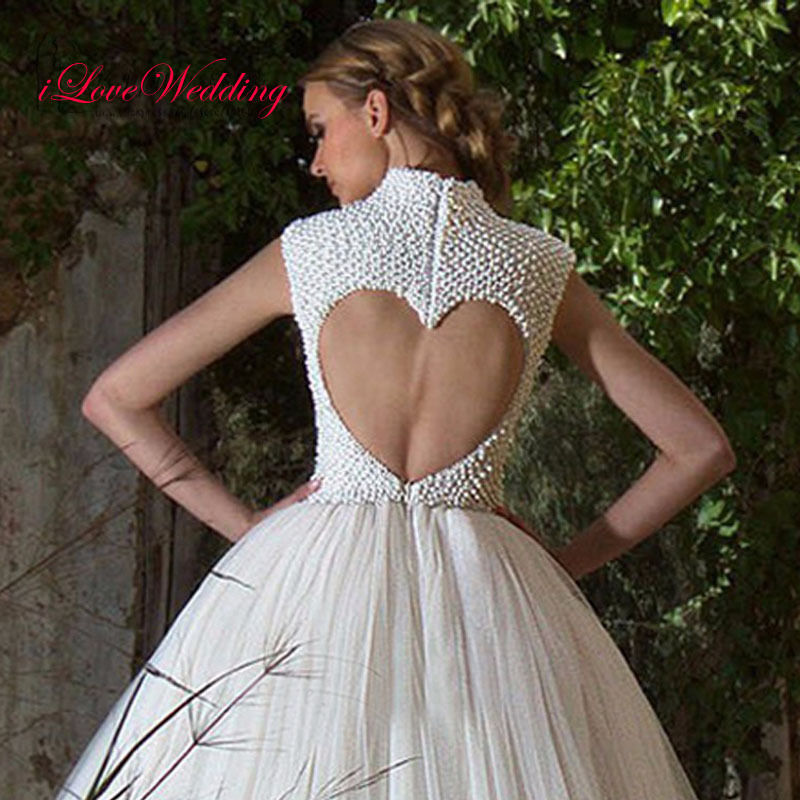 Luxury Pearls Ivory Tulle Ball Gown Wedding Dresses Formal Bridal Gowns Custom