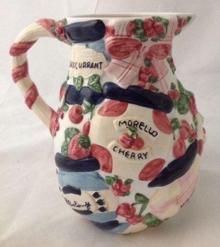 Ceramic Jelly Jar Pitcher Decorative Raised Fruit Design