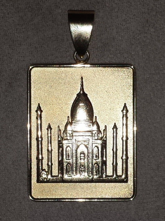 Allah Quran Sura Luqmān Taj Mahal  heavy gold plated real sterling silver charm