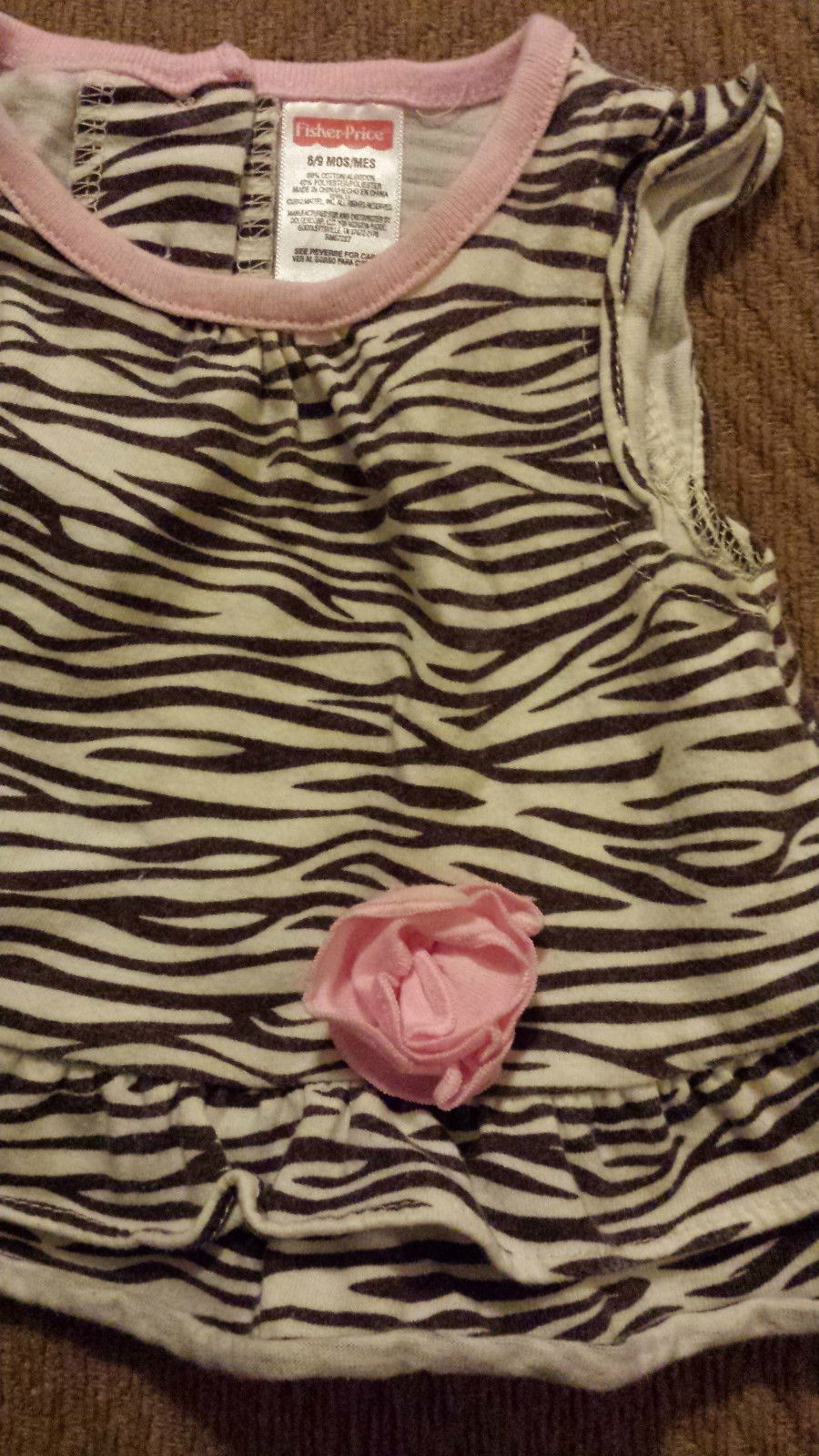 Girl's Size 6-9 M Months 2 Pc Zebra Striped Floral Top, Carter's Bloomer Shorts