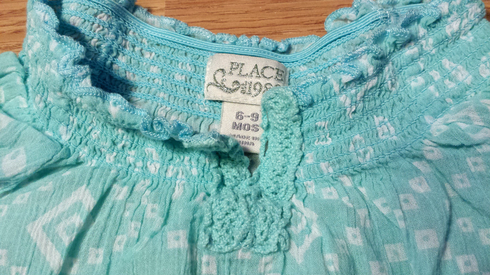 Girl's Size 6-9 M Months Two Pc Blue Children's Place Peasant Top & Blue Shorts