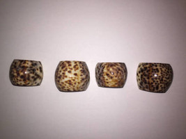 Sea Shell Napkin Holder Rings TIGER COWRIE Set of 4 Various Sizes Beach ... - $9.86
