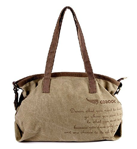 All-match Modern Handbag Shoulder Bag Unique Canvas Cross Body Bag KHAKI