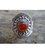 Natural Amber Sterling Silver Ring, Anxiety Ring, Silver thumb Ring, worry ring  - $84.87