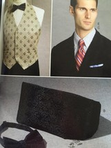Vogue Sewing Pattern 9073 Mens Vest Cummerbund Pocket Square Ties Size O... - $18.47